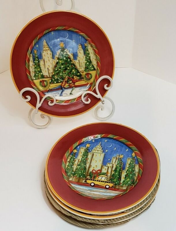 "Sango Christmastime In The City Set of 4 Plates 7.75"" Chuck Fischer 4 Scenes"