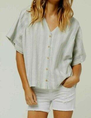 O'Neill Isabella Mujer Botón Frontal Pico Grande Camisa Pequeño Aloe Nuevo