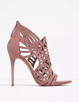 Used, Zara High Heel Leather Openwork Open Toe Sandal Mauve Nude Suede Shoe  Nwt Sz 9 for sale  Shipping to Nigeria