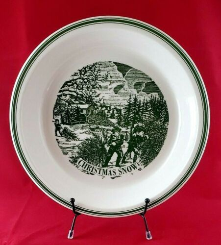 """Vintage Currier & Ives Replica """"Christmas Snow"""" 10"""" Green Pie Plate"""