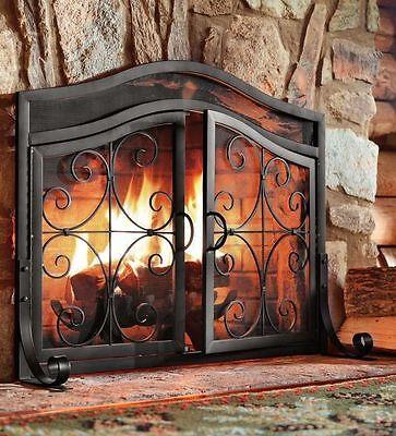 Fireplace Screen Door Black Fire Small Guard Wrought Iron Ornamental Scroll