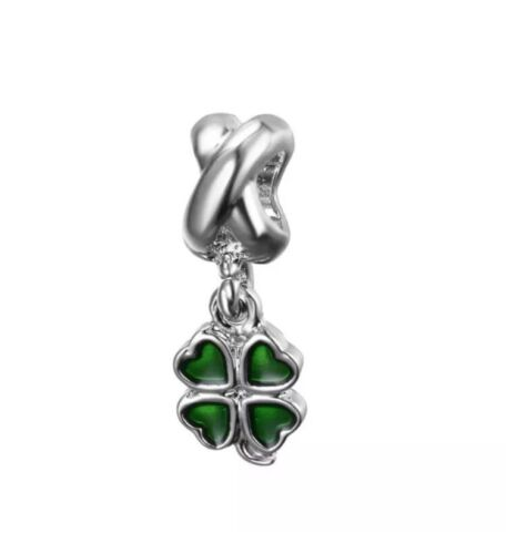 Charm Quadrifoglio Portafortuna Pandora  Catena Intrecciata Fashion sImIl New