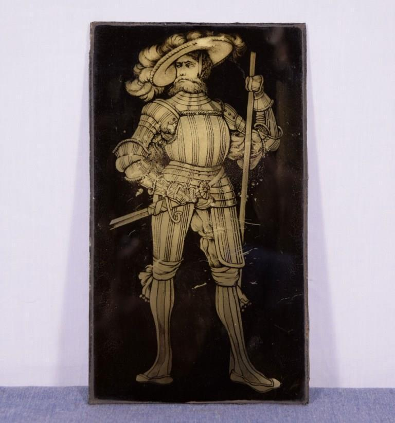*Antique French Glass Panel with Image of a Parisian Man
