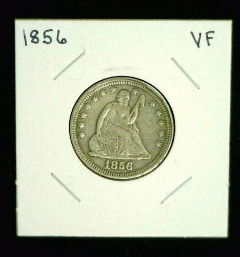 1856 SEATED SILVER QUARTER VF DETAILS    (9536)