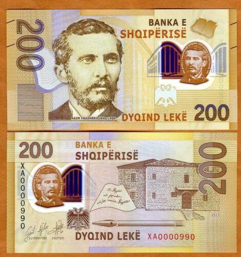 Albania, 200 leke 2017 (2019) P-New, First Polymer, XA-Prefix, UNC > REPLACEMENT