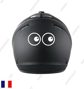 sticker autocollant casque moto scooter yeux cartoon humour fun marrant drole ebay. Black Bedroom Furniture Sets. Home Design Ideas
