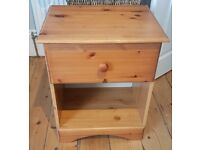 Wood Bedside Table with Drawer & Shelf - Great Condition - £15 ONO - 49cm(W)x39(D)x60cm(H)
