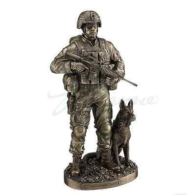 US Army Soldier w/Dog - Honor And Courage Statue Sculpture Figurine - GIFT BOXED