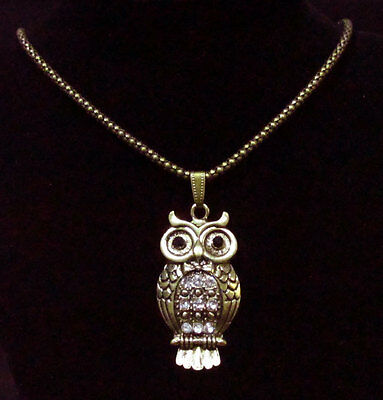 Rhinestone Owl Necklace Pendant Antiqued Gold Tone Snake Chain Jewelry