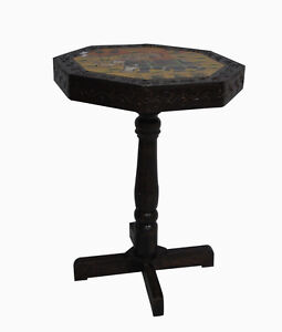 Details About Antique Indian Cocktail Table Hand Made Elephant Painted