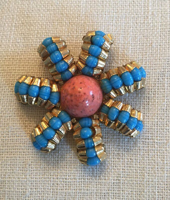 DELILLO coral*gold*turquoise flower motif brooch~AUTH VINTAGE~MINT~T2