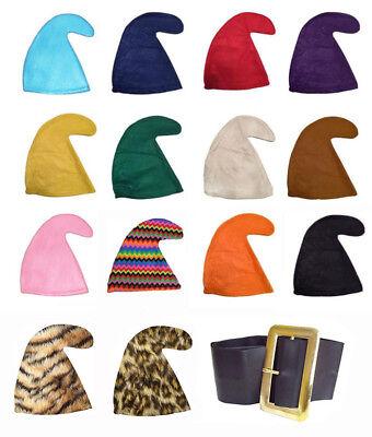 SEVEN DWARFS/DWARVES SMURF HAT GNOME HAT & BELT SET SNOW WHITE FANCY DRESS PARTY - Seven Dwarfs Fancy Dress Costumes