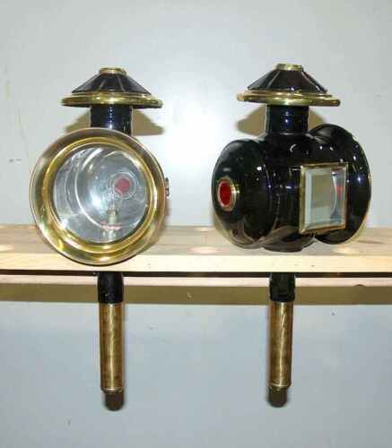 Pair of new horse drawn 12 volt carriage lamps BRASS trim full size ROUND