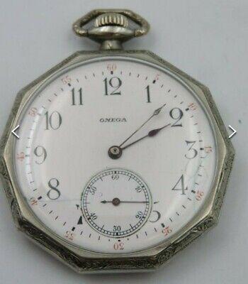 Antique Omega 15 Jewel Size 12 Pocket Watch Vintage Working Order Silver