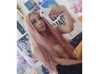 Long Pink Lacefront Wig