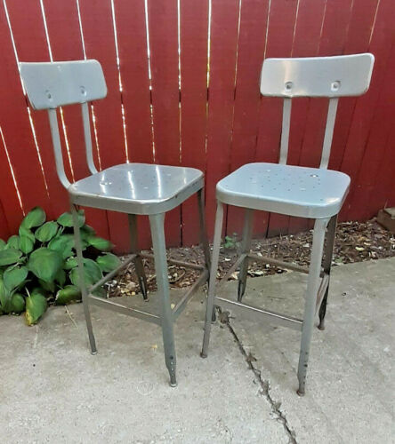 Vintage PAIR(2) Lyon Industrial Factory finish Gray Steel Stools- Retro Nice !