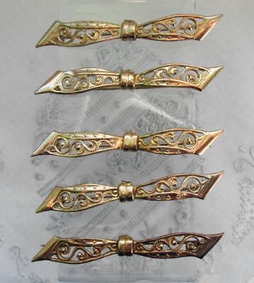 5 goldene Broschen Stabbrosche Kragenbrosche Schleifen