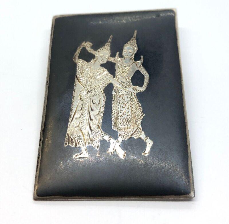 Vintage Sterling Silver Brooch Pin 925 Siam Enamel Dancer Black Alex Co Signed