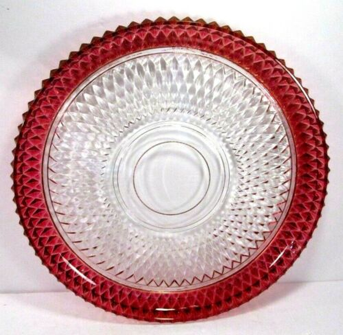 """Indiana Glass Red Fired Rim Diamond Point Hostess Plate 12""""  serving tray"""