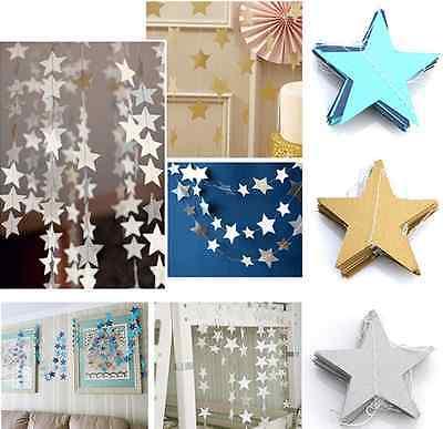 Hanging Paper Garland Star Chain Wedding Baby Shower Party Ceiling Banner Decor - Wedding Shower Decor