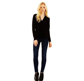 Ladies Black V-Neck Long Sleeve Work/Casual Fitted Stretchy Top.Size 22.