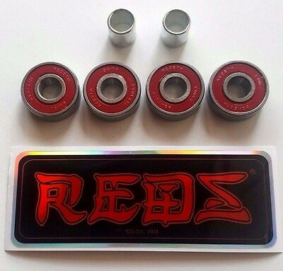 4 Pack BONES REDS SKATE BEARINGS pro scooter skateboard longboard ripstik 8mm