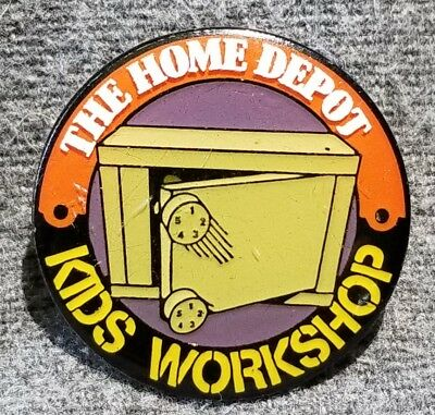 LMH PINBACK Pin HOME DEPOT Kids Workshop COMBINATION SAFE Storage Box 1