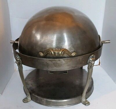 Lion Head Round Roll Top Chafer 8 Quart Chafing Dish Divided