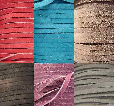 Genuine Leather Cord Suede Flat Lace for Necklace Choker Bracelet 3mm, 10 feet