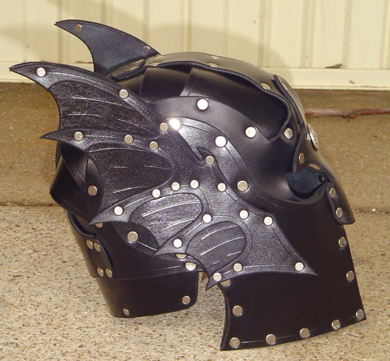 Winged Leather Helmet Fantasy Mask Armor SCA LARP Helm cosplay Dragon Fetish