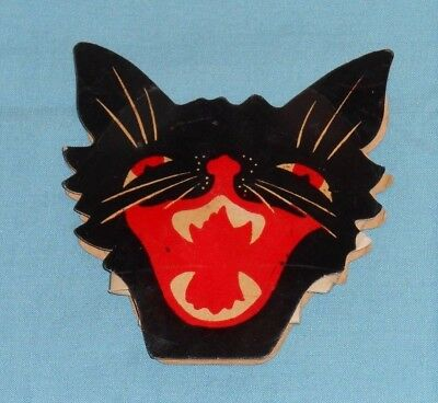 Vintage Halloween Cat Faces (vintage cardboard HALLOWEEN BLACK CAT FACE CANDY CONTAINER)