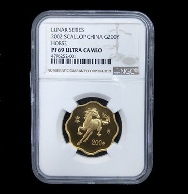 2002 lunar series horse 1/2oz gold coin scallop G200Y NGC PF69 ultra cameo