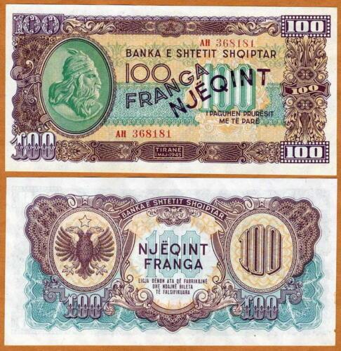 Albania, 100 Franga, 1945, WWII, Pick 17, Ch. UNC