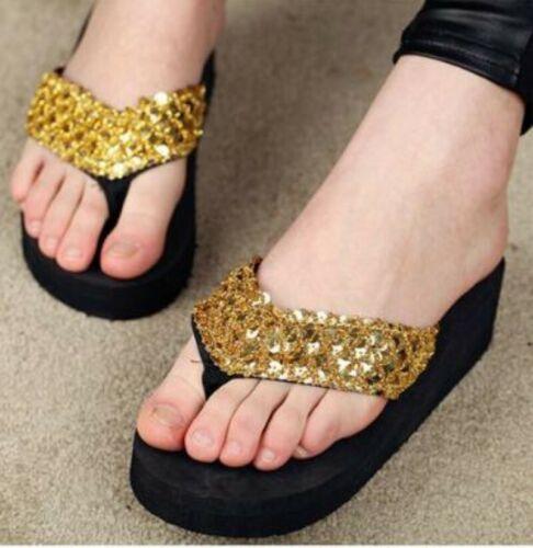Women Summer Sequin Thong Platform Sandals Wedge Slippers Beachwear Size 36-40