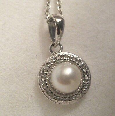 925 STERLING SILVER WHITE FW CULTURED PEARL & DIAMOND PENDANT W/ CHAIN ~ 6 MM Fw White Pearl Pendant