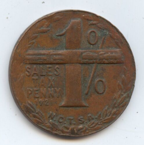 1921 1C Simplicity Tax Token (#8649) 23MM. Carefully Check out the Photos.