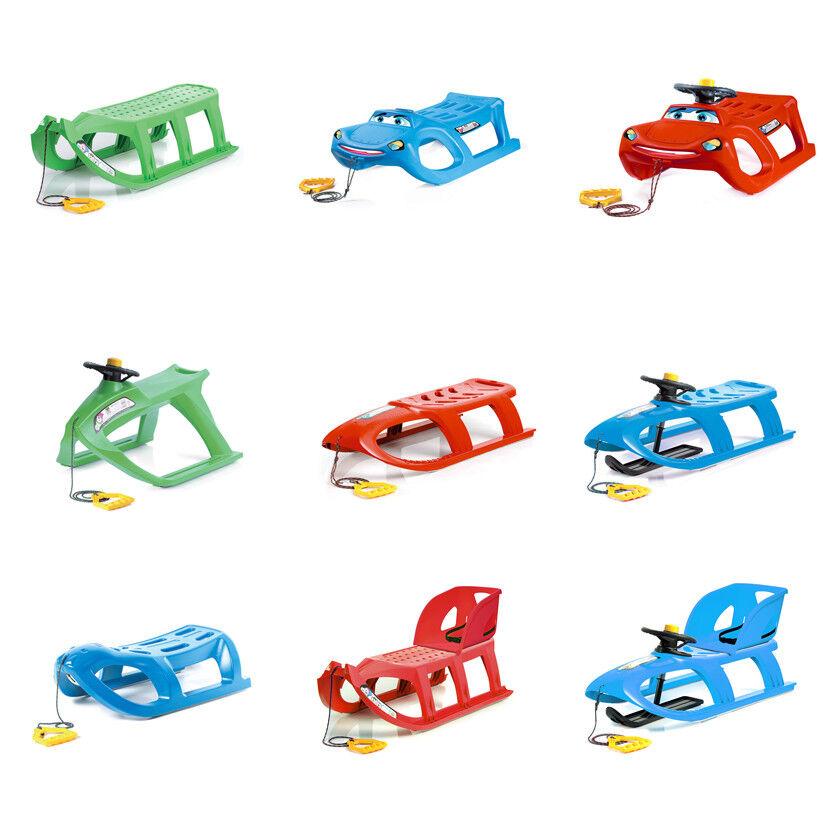 Kinderschlitten Schlitten Rodel Lenkschlitten aus Kunststoff Lenkrrad Kindersitz