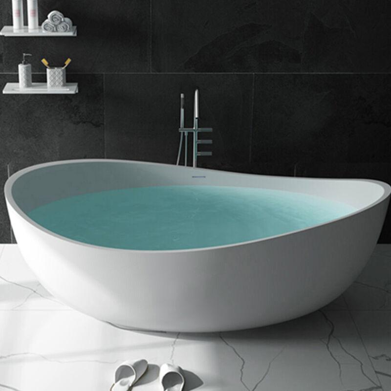 "Matte White Bathtub 71"" Oval Freestanding Stone Resin Tub with Drain & Overflow"