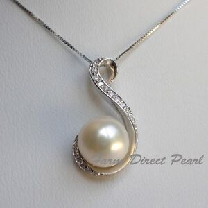 Genuine Huge 11mm White Pearl Pendant Necklace 18
