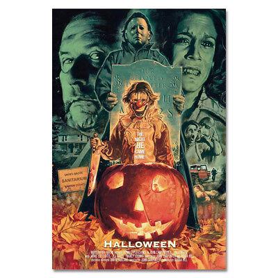 G721 Halloween Classic Horror Movie Film Vintage Art Poster Silk Cloth