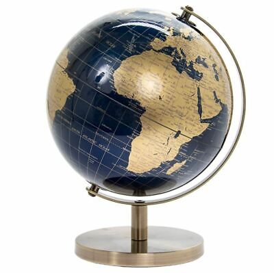 CONTEMPORARY BLUE & GOLD MEDIUM GLOBE ON METAL BASE ATLAS TABLE DESK ORNAMENT