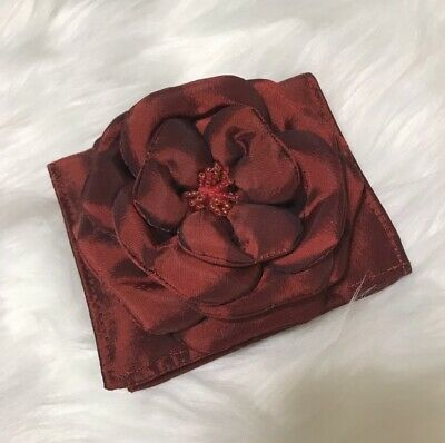 Red Satin Beaded Flower Wallet Clutch Flower Beaded Satin Clutch