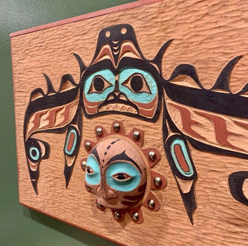 Northwest Coast Large Vintage Carved and Painted 3D-Panel!!! Signed M.Scott