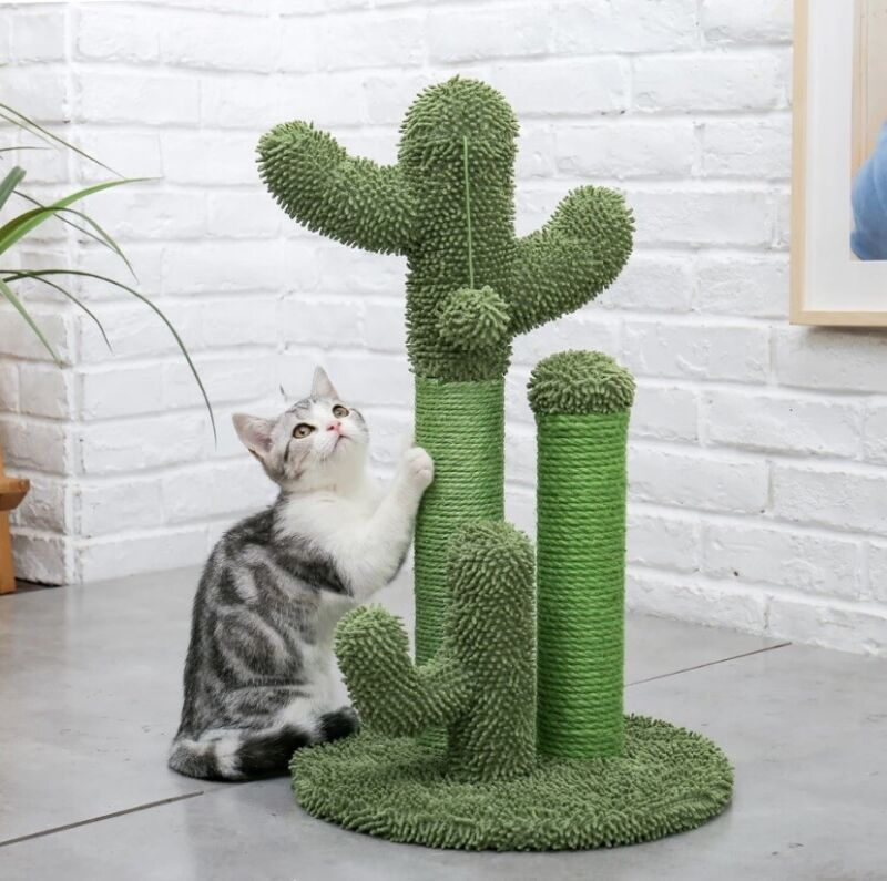 Cute Cactus Pet Cat Tree Toys with Ball Scratcher Posts for Cats Kitten Climbing