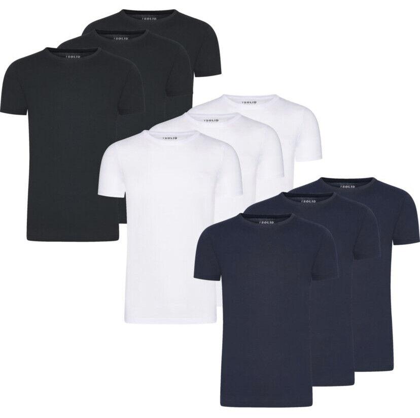 Solid Basic Herren T-Shirt Tee Kurzarm Mit Rundhalsausschnitt 3er Pack Set S-XXL