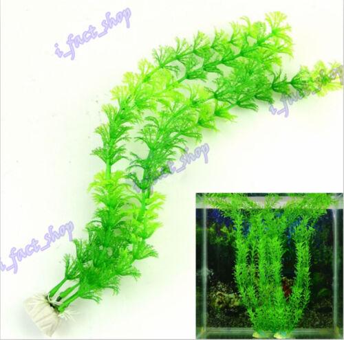 Green Artificial Plastic Plants Grass for Fish Tank Aquarium Ornament Decor IFA