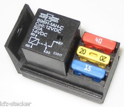 Kfz Relaissockel mit 3 Sicherungshalter + Kontakte Pins Auto Pkw Lkw