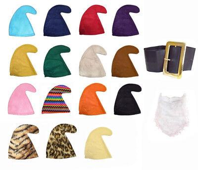 SEVEN DWARFS/DWARVES SMURF HAT GNOME (HAT, BEARD & BELT SET) FANCY DRESS PARTY - Seven Dwarfs Fancy Dress Costumes