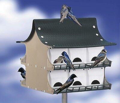 S&K BH12 12 Family Purple Martin Bird House Green / Tan