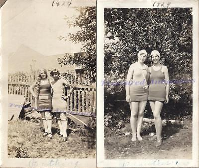1920s Young Women Bathing Beauty Full Body Swim Suit Stockings & Caps Photos
